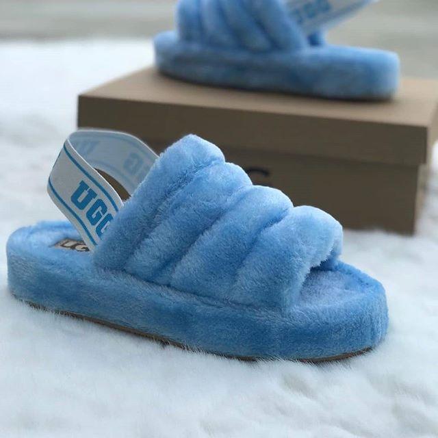 Replika Ugg Mavi Yünlü Bayan Sandalet Modeli 2019