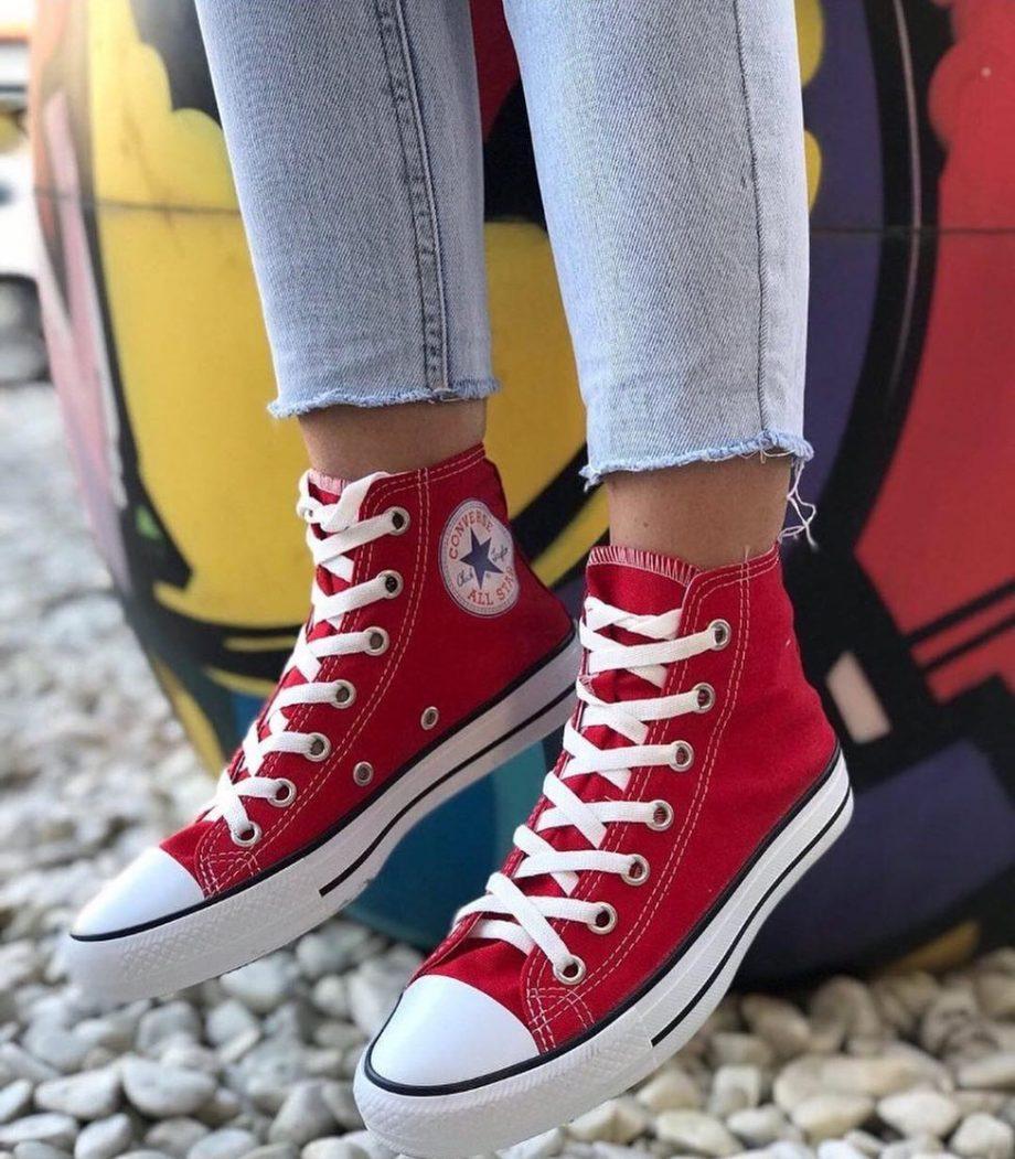 Replika Converse Bilekli Kırmızı Ayakkabı